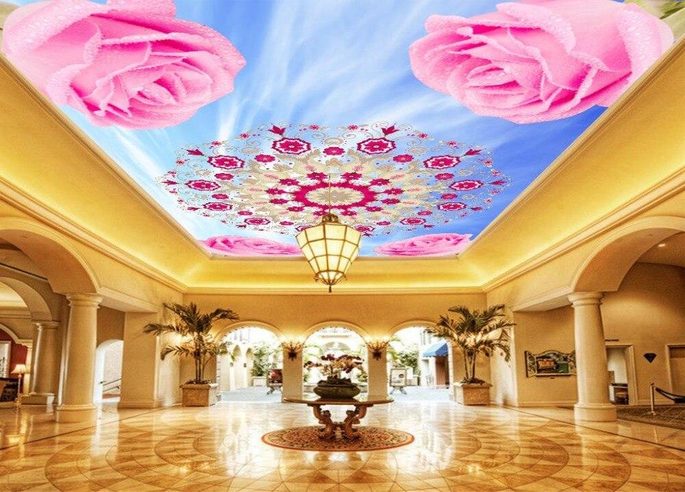 Sky flowers papel de parede 3d Ceiling Wallpapers For Living room HD papel de parede 3d europeu Ceiling<br>