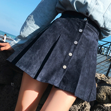 Buy 2018 New Autumn Denim Skirts Suede Pleated Women Pleated Vintage A-line Mini Temperament Skirts Womens Clothing for $19.71 in AliExpress store
