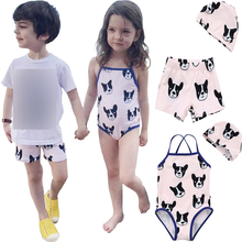 One Piece swimsuit Girls Swimwear Children 2017 Kids Boys Swim Shorts Trunk Suit for Girls Baby Child Cartoon Puppy Swimming Cap