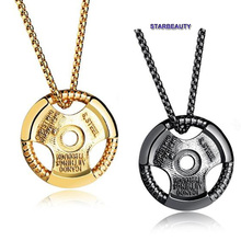 1pc Bodybuilding Pendant Disk Fitness Gym Necklace Sport Man Power Bodybuilder Pendant Necklaces for Men Neckless Figaro Chain