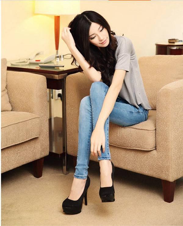 2014 Women New Autumn Elastic Slim Denim Pencil Pants Lady Skinny Long Jeans  Mid Waist  Casual Pencil Trousers S629Одежда и ак�е��уары<br><br><br>Aliexpress