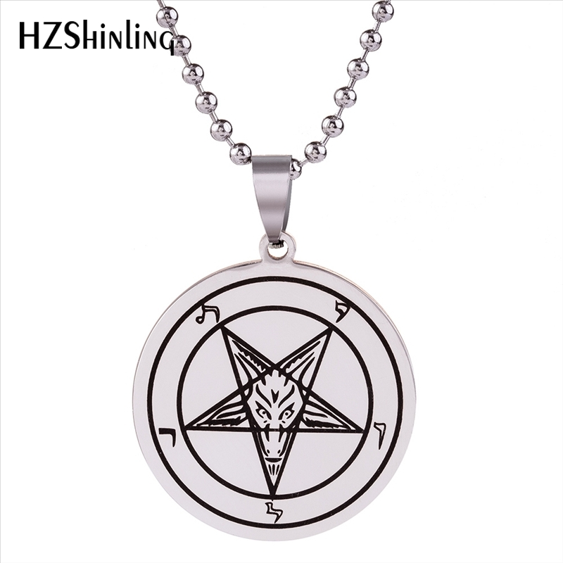 2018 New Stainless Steel Sigil Baphomet Pendant Baphomet Pentagram Logo Necklace Lilith Sigil Seal Jewelry Silver Chain HZ7