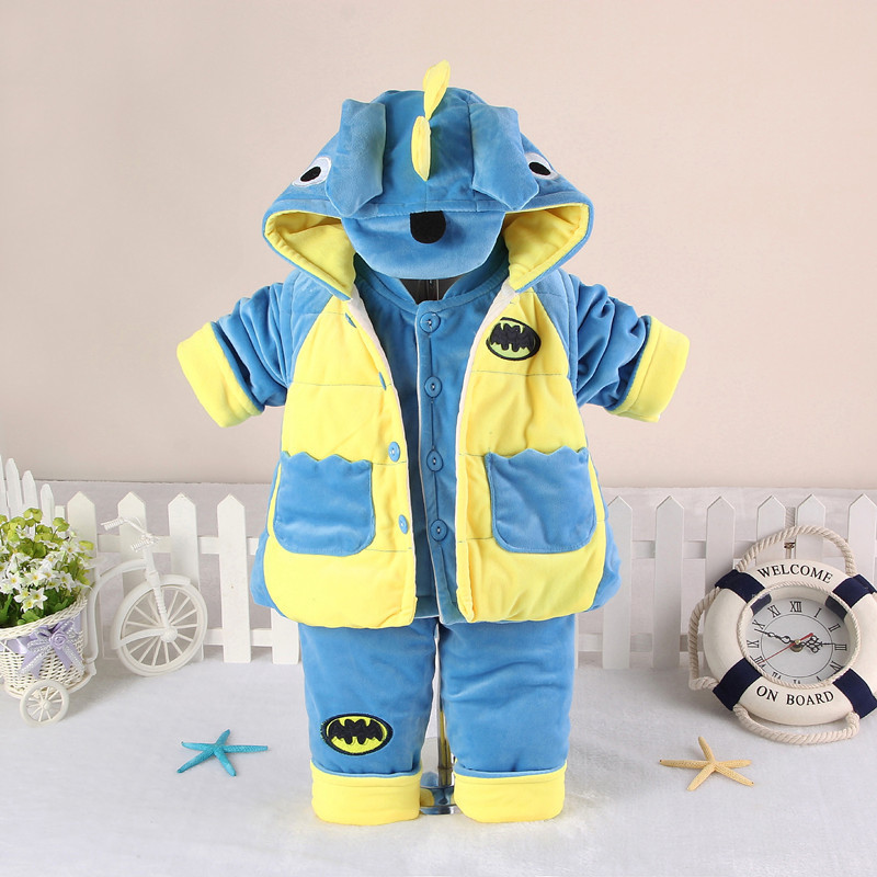 NEW Babys Set 2016 Winter Girl Flannel Suit Thickening Keep warm Baby Cartoon dinosaur (three Piece Sets) Cotton-padded clothes<br><br>Aliexpress