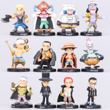 NEW hot 12pcs/set 5cm One piece Akakami no shankusu mini luffy Defeated by collectors action figure toys Christmas toy