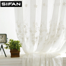 European White Fancy Embroidered Voile Curtains for Living Room Tulle Window Curtains for the Bedroom Sheer Curtains(China)