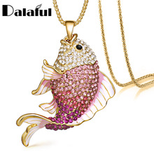 2016 New Brand Fish Crystal Goldfish Enamel Rhinestone Long Necklaces & Pendants For Women Charm Party Gift X605