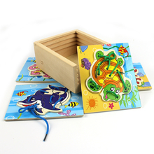 Free shipping creative educational cute marine animals colorful 4 pieces threading wooden puzzle box children toys kids gift