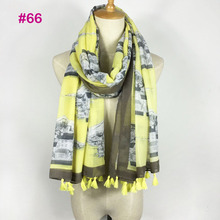 Very fashion popular white yellow bulding print 100% viscose scarf tassel(China)