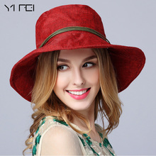 YIFEI Fashion Ladies Summer Linen Hat With Wooden bead High Quality Women Bucket Hat Girl Leisure Beach Hat, Prevent Ultraviolet