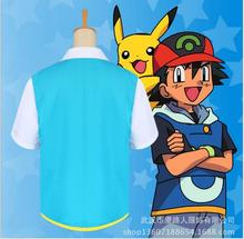 New 2017 Pokemon Ash Ketchum Trainer Costume Cosplay T Shirt + Gloves + Hat Cap Ash Ketchum Costume