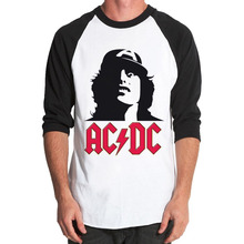 Angus Young Rock Band Music Guitar New Men's Plain BaseBall Graphic 3/4 Sleeve Raglan T-shirts Tops Tees