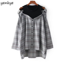 Buy Spring 2018 Women Fake 2pcs Plaid Loose Blouse Casual Long Sleeve Vintage Oversized Shirt Plus Size Clothing DDOM8001 for $17.70 in AliExpress store