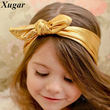 Hot Sale Rabbit Bunny Ear Headband Solid Stretch Lovely Headbands For Kids Girls Cute Leather Head Band Hair Accessories