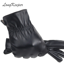 LongKeeper 2017 High Quality Spring Winter Male PU Leather Thick Black Touchs Screen Gloves Man Car Driving Mittens Gants Mujer(China)