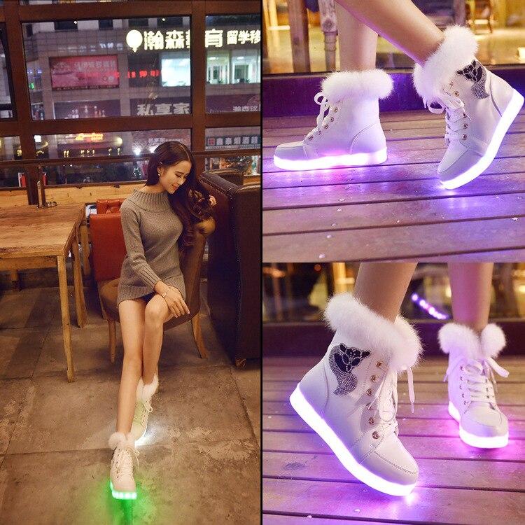 Yeafey Luminous Sneakers Led Krasovki Women Winter Fox Diamonds Warm Fur Pink Girls Shoes Autumn Led Luminous Shoes with Lights