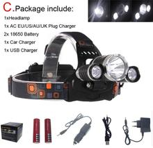 9000 Lumens Headlight XM-L 3XT6R5 LED Head Light 4 Modes Headlamp Lantern Hunting Head Flashlight +Car AC Charger + Battery
