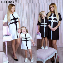 Family Matching Clothes Little Girl Princess Dress with Bow Mom Clothes Black White Striped Mother and Daughters Dresses Outfits