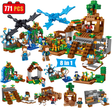 8 in 1 Mine World Minecrafted Village Building Blocks Bricks DIY Enlighten Gift Educational Toys for Children Compatible Legoed(China)