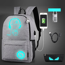 Buy Yesello USB Luminous Black Backpacks Oxford School Book Bags Computer Backpack Large Capacity Pencil Case Security Lock for $14.33 in AliExpress store