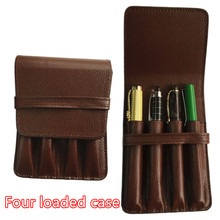HIGH QUALITY LUXURY BROWN ROLLER AND FOUNTAIN PENS CASE HOLDER FOR 4 PEN