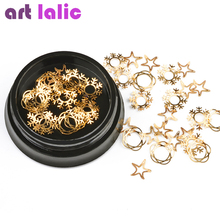 Artlalic 1 Box Nail Art Decorations Alloy Thin Sheet Outline Snowflake Flower Star Slices Design Charms Nails Manicure Supplies