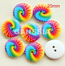 30pcs/lot Stylish rainbow color  20mmpainted wooden button for DIY scrapbooking Garment embellishment buttons Sewing (ss-1042)