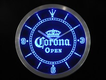 nc0109 OPEN Corona Crown Beer Pub Bar Neon Sign LED Wall Clock Wholesale Dropshipping