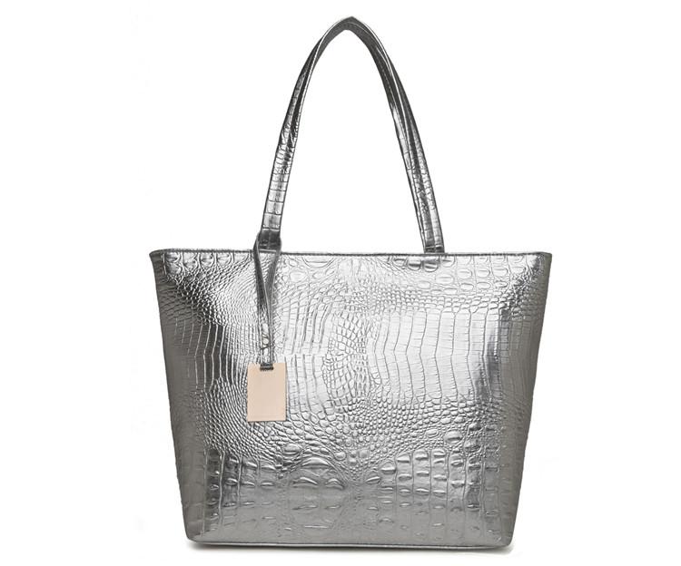 Brand Fashion Casual Women Shoulder Bags Silver Gold Black Crocodile Handbag PU Leather Female Big Tote Bag Ladies Hand Bags Sac 8