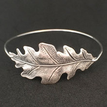 Personality Oak Leaf  Bangle High Quality Fashion Alloy Bracelets Jewelry for Men and Women Old Silver Color  YP2437