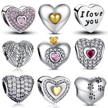 100% Authentic 925 Sterling Silver Heart Shape Charm Beads Fit pandora Charm Bracelet DIY Original Silver Jewelry(China)