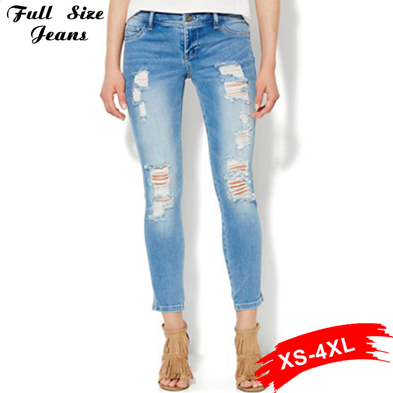 Hot Jeans Fall Fashion Plus Size Stretch Skinny Capris Jeans Elastic 4Xl Xs 3Xl 6Xl 7Xl Low Waist Dark Blue Ripped Pencil PantsОдежда и ак�е��уары<br><br><br>Aliexpress