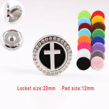Rhinestones Cross Perfume Locket Snap Button 20MM Essential Diffuser Fit 18MM Snap Button Bracelets Best Gift For Women Men