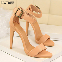 Retro Buckle Women Sandals 2017 Summer Women's Fashion Platform Solid PU Leather High Heels Shoes Open Toe Women's Brand Sandals