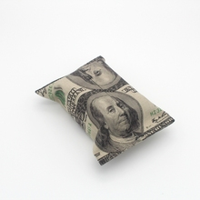 LINKWELL Handmade US Dollar USD Pattern Benjamin Franklin Folding Burlap Tissue Box Cover Case for Hotel Bedroom Office Car Use