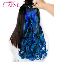 "HANNE 24"" 60cm 5 Clips Long Wavy Mixed Brown And Blue Or Green Or Pink Synthetic Hair pieces Clip-in One Piece Hair Extensions(China)"