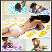 Printed pineapple tassel beach towel Round Beach Towel Microfiber Cotton Shawl Throw Blanket Style Mat Home Decor Tablecloth