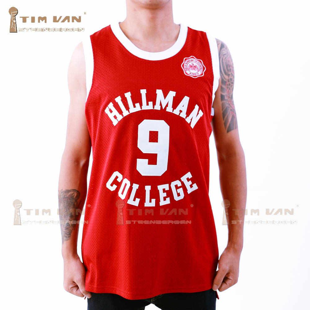 TIM VAN STEENBERGE Dwayne Wayne 9 Hillman College Theater Basketball Jersey  A Different World Stitched Sewn d81c72c65
