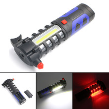 Blue Multi-function Emergency Flashlight 1*COB+16*LED Flashlight 3 Modes Torch for Car Emergency Use 3*AA White/Red Light
