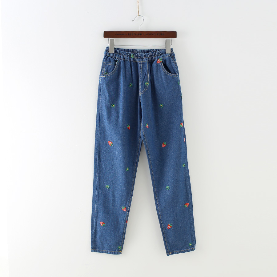 Kawaii  strawberry embroidery water wash retro finishing loose elastic waist denim trousers female jeansОдежда и ак�е��уары<br><br><br>Aliexpress