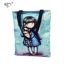 Lovely Cartoon Girl Printing Canvas Tote Women Casual Handbag for Teenager Girl  Bag Female Large Capacity Daily Shopping Bag