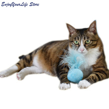 Pet Cats Soft Cat Toy Catnip Toys Sound Balls Kitten Toys Candy Color Ball Assorted With Feather(China)