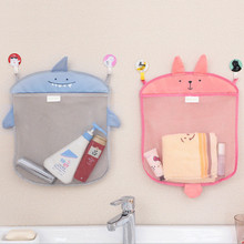 Folding Cartoon Bathroom Hanging Organizers Mesh Bag Bath Toy Storage Bag Baskets Shower Tools Organiser Bags