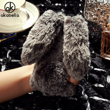 AKABEILA Fluffy Rabbit Fur Silicon Cases For Apple iPhone SE iPhone 5SE iphone55s iPhone 5 5S 5G 55S Cases Coverss Back(China)