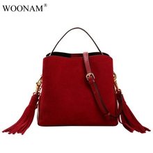 WOONAM Fashion Women Genuine Suede Bag Real Calf Leather Handbag Fall Winter Tassels Bucket Bag Shoulder Bag WB382(China)