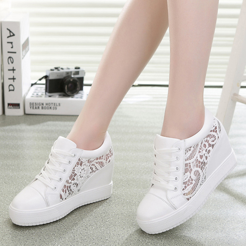 2017 Platform Shoes Woman Hidden Wedge Heels Casual Shoes High Top Casual Elevator Shoes Womens Walking Shoes Chaussure Femme<br><br>Aliexpress