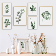BIANCHE WALL Watercolor Plant Leaves Poster Print Landscape Wall Art Canvas Painting Picture for Home Decoration Green Decor(China)