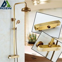 Antique Brass Wall Mounted Two Handle Thermostatic Shower Mixers Thermostatic Bath Shower Taps + Ceramic Handshower(China)
