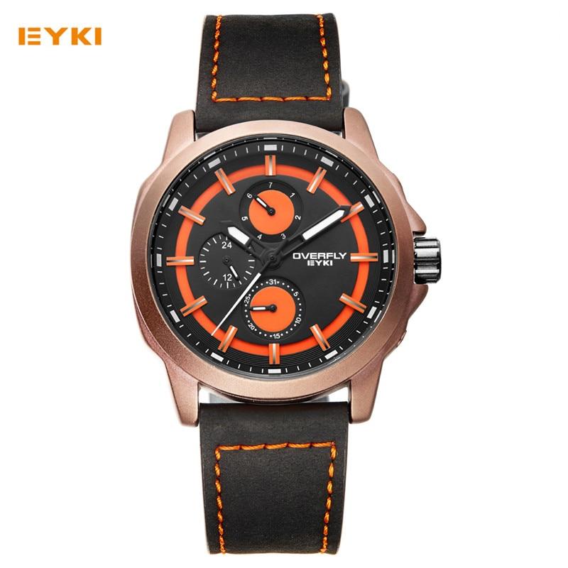 EYKI Mens Sport Watches 2017 Luxury Brand zegarki meskie Fashion Casual Leather Multifunction Wristwatch Luminous Male Clock <br>