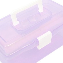 Promotion! Plastic Handle 2 Layer Hardware Tools Storage Box, Clear Purple(China)