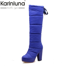 KARINLUNA 2017 Fashion Snow Boots Winter Add Fur Knee High Boots Waterproof High Heels Platform Women Shoes Woman